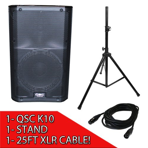 Qsc K10 Powered 10-Inch 1000 Watts Pa Speaker Package With Speaker Stand And 25Ft Xlr Cable Included!