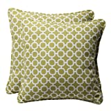 Pillow Perfect Decorative Green/White Geometric Square Toss Pillows, 2-Pack