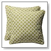 Decorative Green/White Geometric Square Pillows