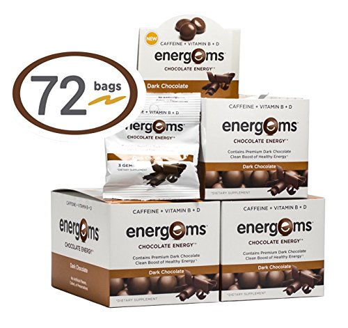 Energems Dark Chocolate Energy Boost with Caffeine, Vitamin B, Vitamin D, Antioxidants, plus L-Theanine - Contains 216 Original Dark Chocolate Dietary Supplement Gems (3 Boxes w/24 bags each) (Energy Chocolate Chews compare prices)