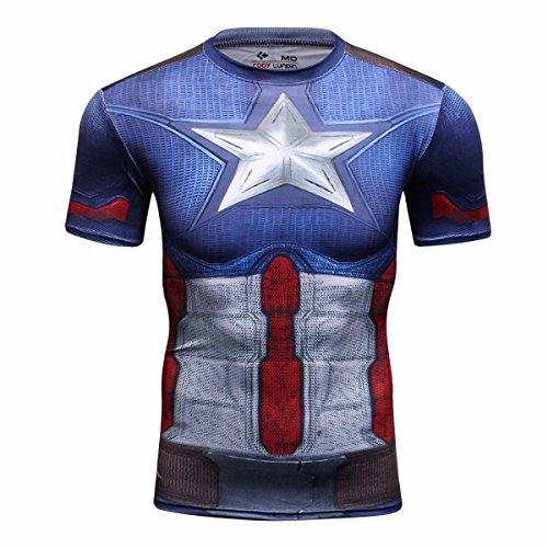 Cody Lundin maschile Camicia 3D Sportwear Superheros Logo t-shirt Cosplay Top manica corta Fitness confortevole (M)