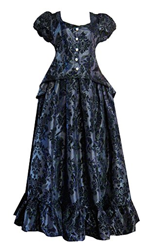 Victorian Valentine Steampunk Gothic Victorian Civil War Black Top & Skirt Dress
