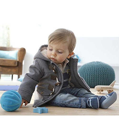 Baby Boy Warm Winter Horn Button Outerwear Toddler Hooded Coat Snowsuit Jacket (12-18 Months)