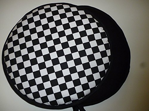 Pair of Black & White Chefs Check Range Cooker Hob Lid Covers Hob Top Pads