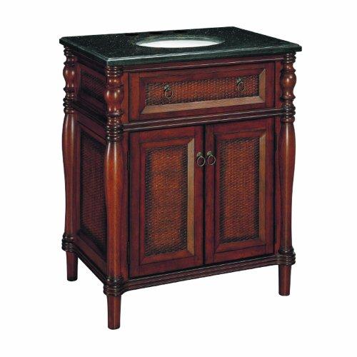 Samson 547-11-0705 30-Inch Bombay Wood Single Sink Bathroom Vanity with Top, Light Brown