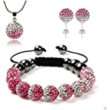 Pink Crystal 925 Sterling Silver Shamballa Necklace, Stud Earrings and Bracelet Set 10mm