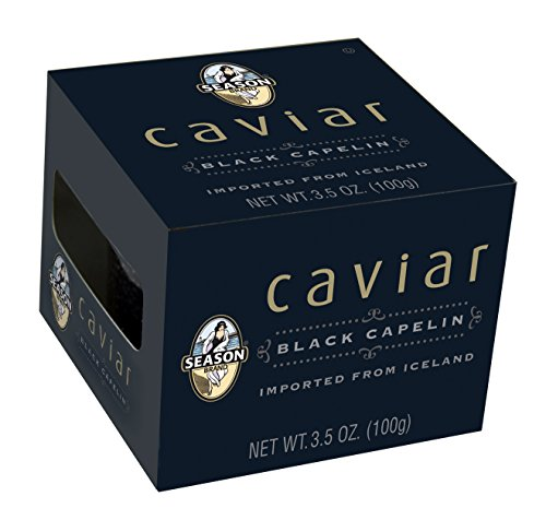 Season Black Capelin Caviar from Iceland, 3.5-Ounce Glass Jars (Pack of 4) (Canned Fish Roe compare prices)