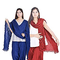 Kalrav Solid Blue and Maroon Cotton Dupatta Combo