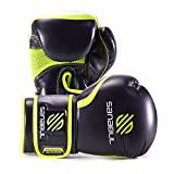Sanabul Essential Gel Boxing Kickboxing Gloves (Black/Green,...