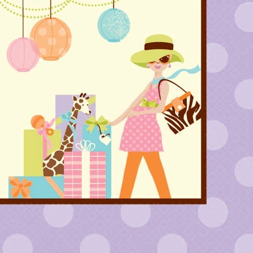 Modern Mommy Lunch Napkins (16) Baby Shower Giraffe Animal Print - 1