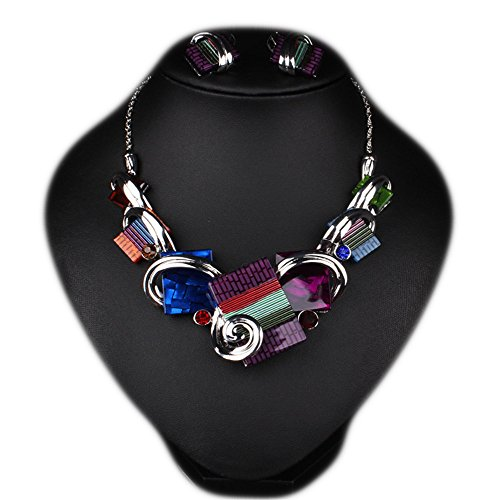 Girl Era Womens Modern Art Square Laminations Resin Bib Statement Necklace & Stud Earrings Set(purple) (White Resin Earrings compare prices)