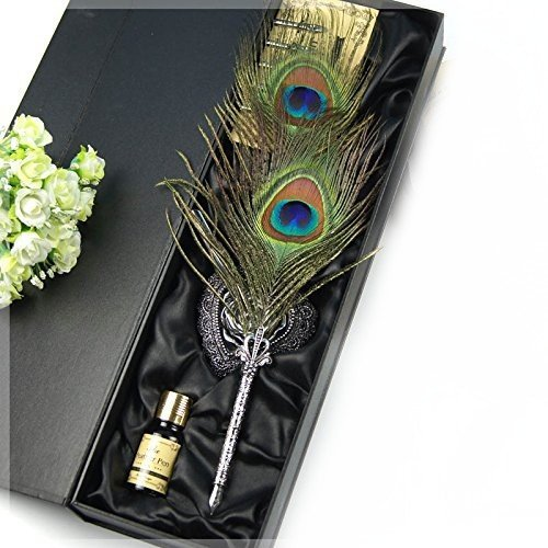 Eltro Europe Style Retro Antique Hand Carved Peacock Feather Pen,Colorful Writing Quill Pen Set,With Ink, Heart-Shaped European Pen Holder And 5 PCS Nib (PEACOCK) 0