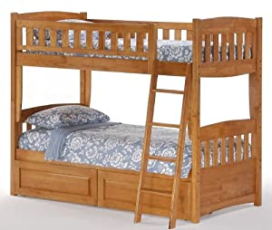 port Twin over Twin Bunk Bed plus Understorage Unit with Medium Oak Finish from Bunksnstuff