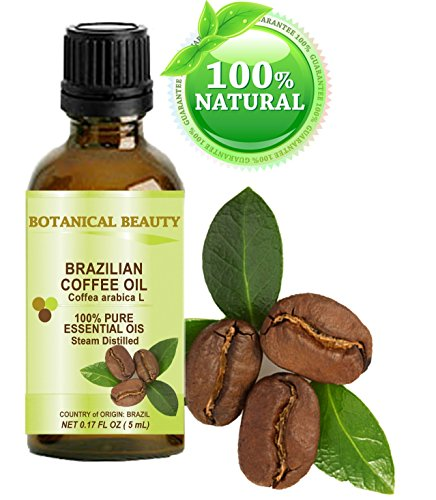 "COFFEE ESSENTIAL OIL Brazilian. 100% Pure/ Undiluted. 0.17Fl.oz.- 5 ml. "" Uplifting, revitalizing and a powerful stimulant for Skin, Hair, Lip and Nail Care "" by Botanical Beauty."