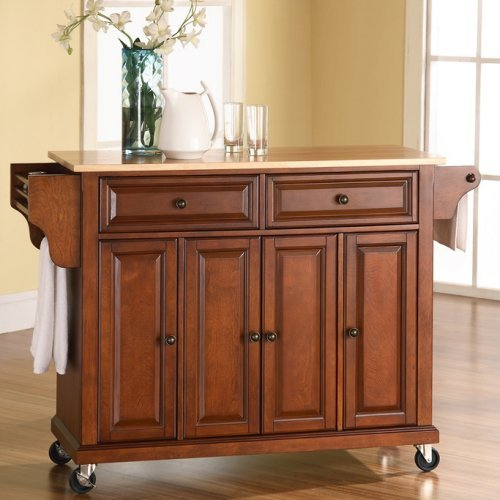 Low-Prices Natural Wood Top Kitchen Cart/Island Color u2013 Classic Cherry Good Price : Furniture ...