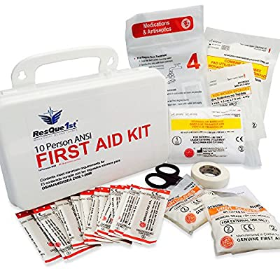 Tactical First Aid Kit: ResQue1st 10 Person ANSI Complete First Aid Kit · Emergency Preparedness Kit · Business · Home · Camping · Boat · Outdoors · Sports from Trauma Quick Solutions