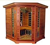 Canadian Red Cedar Carbon Fiber FIR Infared Corner Sauna, 4 Person