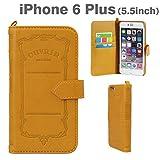 iPhone6 Plus ケース 手帳型 カバー iPhone6Plus / iPhone 6 Plus プラス / 5.5 インチ inch OUVRIR Notebook / ストラップホール / カードホルダー 付き / PU レザー ダイアリー / パンプキンブラウン