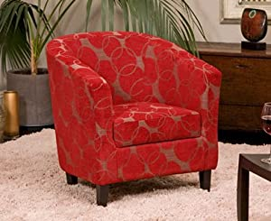 Brand new benissa red funky fabric tub chair armchair for Funky fabric dining chairs