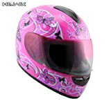 511WOrIkx7L. SL160  Advanced Hawk Pink Butterflies Glossy Full Face Motorcycle Helmet   Size : Small