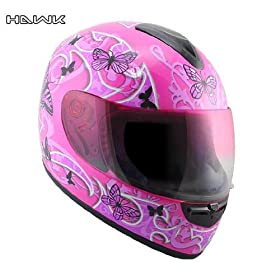 Advanced Hawk Pink Butterflies Glossy Full Face Motorcycle Helmet - Size : Large