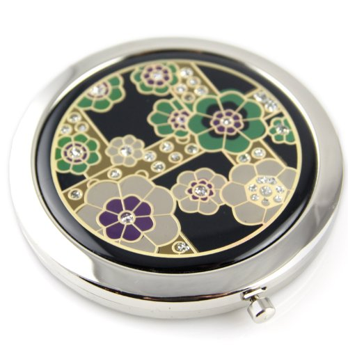 Cherry Blossom Sparcle Gel Inlay - Steel Compact Pocket Mirror With Regular And Magnify Dual Sided Mirror - Green & Purple