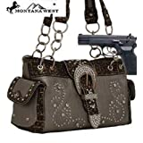 Pewter Western Rhinestone Buckle Conceal and Carry Purse