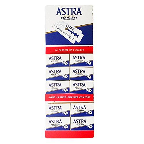 Lamette da barba Astra Superior Stainless Blue - 50 lamette rasoio da barba