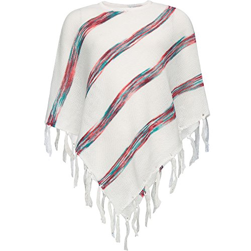 FULL TILT Striped Fringe Girls Poncho, Cream Combo, Medium