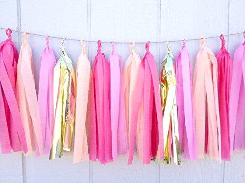 Bateau (assemblé et prêt à accrocher) Rose Pêche papier guirlande avec fanions pour bébé douche, mariage, fête d'anniversaire, décoration chambre Pompons par Originals Groupe Peach-Pink-Gold-Hot Pink
