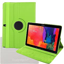 Dealgadgets 360 Degrees Slim Rotating Stand Leather Case Cover for Samsung Galaxy Tab pro 12.2 T900/T905 with Clean Cloth (Tab pro 12.2, Green)