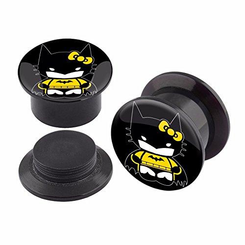 [Pair of Batman Hello Kitty Logo Acrylic Plugs Screw Fit Tunnels Ear Gauge-5MM] (Hello Kitty Ears)