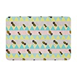 KESS InHouse Louise Machado Little Bee Pastel Chevron Memory Foam Bath Mat, 17 by 24