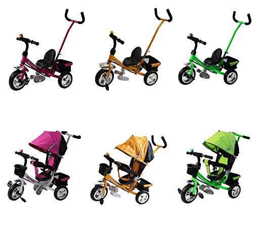 """Clamaro Kinder Dreirad """"Roadking"""" inkl. Schiebestange, Klingel und klappbaren Fußstützen, Kinderdreirad mit Hartgummibereifung und Chromfelgen - Pink"""