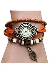 Kano Bak Women's Quartz Fashion Weave Wrap around Leather Bracelet Wrist Watch (Orange)