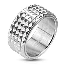 buy Janestore Fashion 316L Stainless Men 10Mm Spiked Spinning Center Band Ring Size 9-14