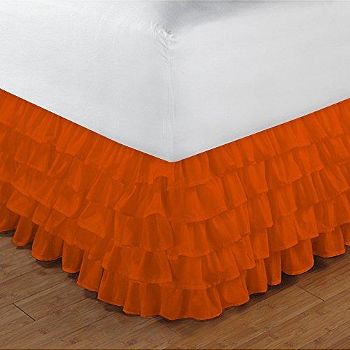 600TC 100% cotone egiziano, finitura elegante 1pcs multi Ruffle Giroletto A Goccia (lunghezza: 20cm), Cotone, Orange Solid, UK_Super_King
