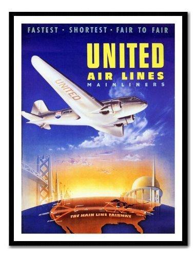 united-airlines-1939-de-voyage-poster-encadre-memo-board-magnetique-noir-41-x-31-cm-environ-406-x-30