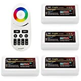 Wireless 2.4G RF RGB Controller Kit, 4 x Controllers and 4-Zone Remote, Compatible with Wi-Fi Bridge, 3 Channel Output, Multi color RGB LED Strip Light Controller for Home, Commercial Lighting