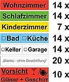 93x Umzugetiketten - für den Karton - farbig Beschriftung mit Etiketten vom Umzugskarton für den Überblick beim Umzug