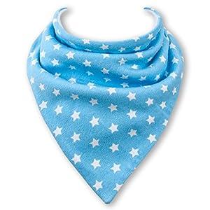 Babero tipo pañuelo - Azul Claro con Estrellas Blancos por Babble Bibs - BebeHogar.com