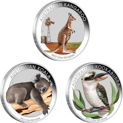 Australia-2012-50ct-Australian-Outback-2012-Coloured-Silver-Coin-Collection-12oz-LIMITED-Silver-Coin-Set