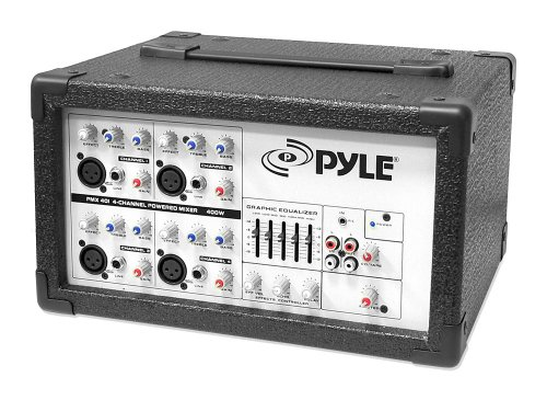 Pyle Pmx401 4-Channel 150 Watt Powered Pa Mixer/Amplifier With Independent Channel Control And Audio Line Input
