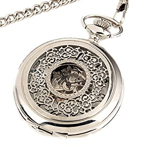 ESS Men Stainless Steel Semi-Automatic White Mechanical Pocket Watch with Chain
