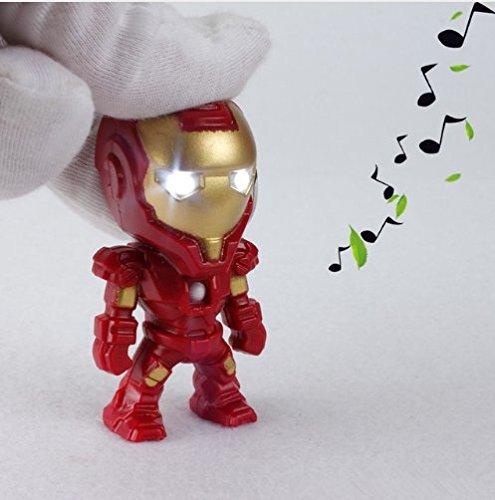 1PCS The Avengers Alliance LED Keychains Superhero Iron Man LED Keychain Light Sound Pendant Key Chain