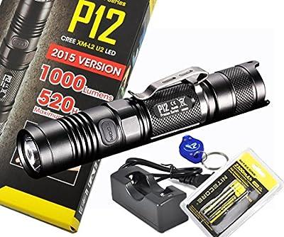 Rechargeable Bundle: 2015 Version 1000 Lumens Nitecore P12 Compact Tactical LED Flashlight, Genuine Nitecore 18650, Charger and Bright Lumentac Keychain Light from Nitecore Flashlights