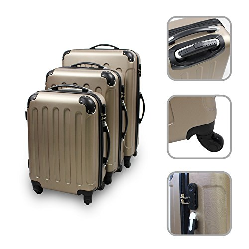Serie di 3 valigie Trolley champagne - Valigie rigide a rotelle con chiusura di sicurezza