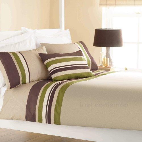 Lime Green Brown STRIPE Bedding Duvet Quilt Cover - Double Set