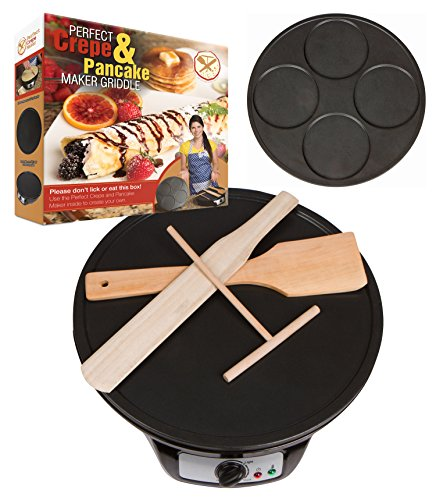 Learn More About Perfect Pancake and Crepe Maker Machine, 2 Interchangeable Non-Stick Electric Griddle Pans, Includes Wooden Spreader, Spatula, Turner, Batter Mix Starter Recipes