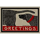 Greetings Dog Sniffing Welcome Doormat Humorous